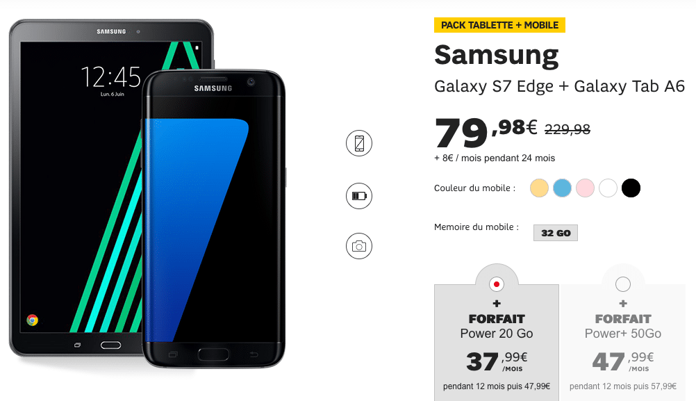 Samsung Galaxy S7 Edge et Tablette SFR