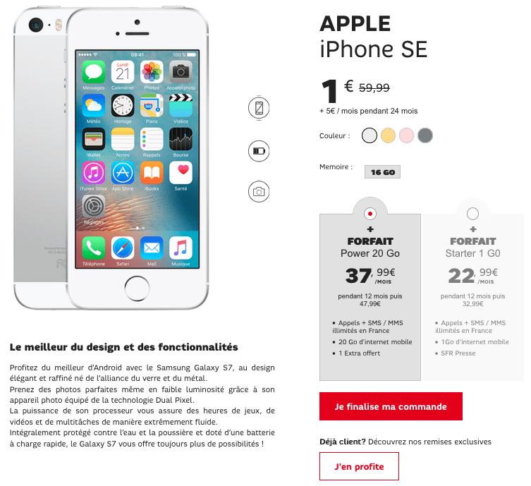 iPhone SE SFR Promotion