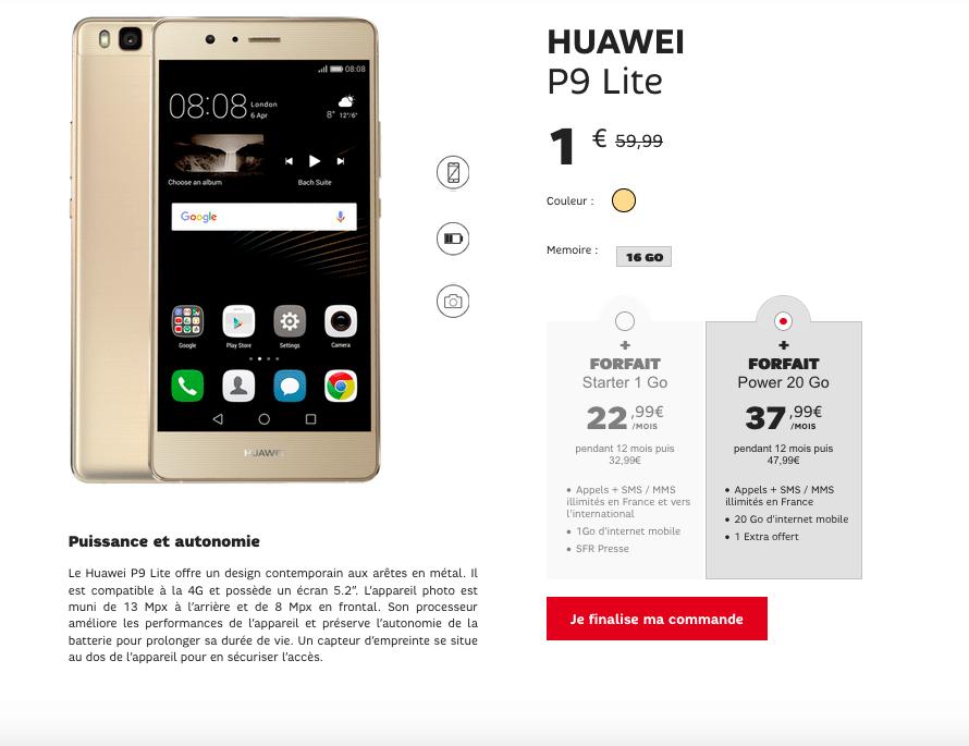 Vente Flash SFR Huawei P9 Lite