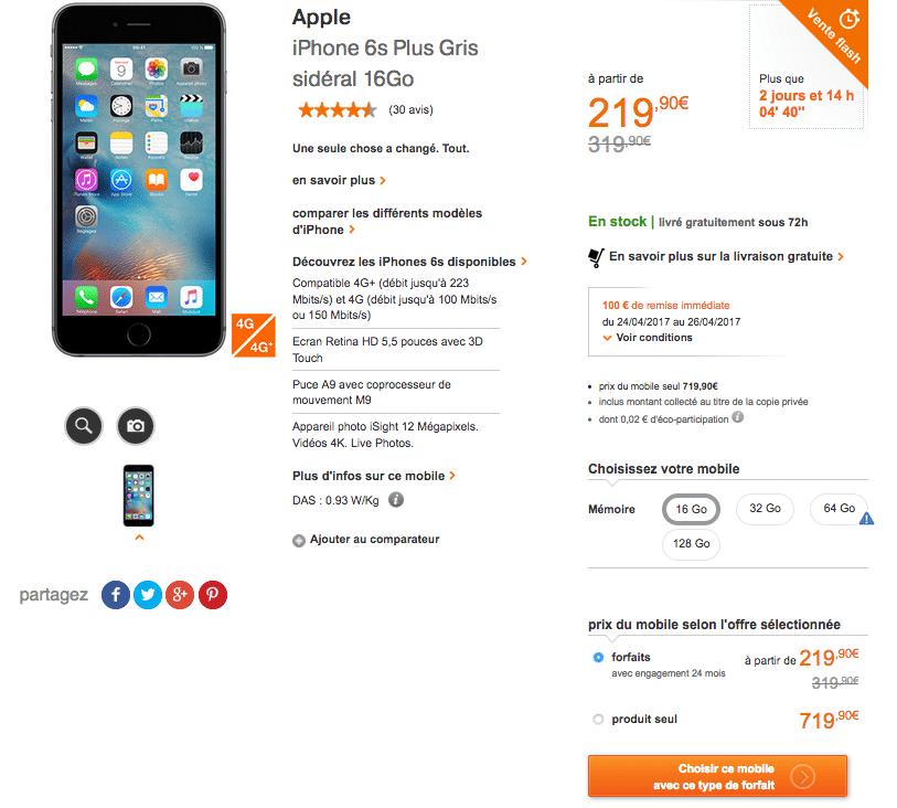 1795642b9bd Vente Flash Orange : remise de 100 euros sur l'iPhone 6S avec un ...