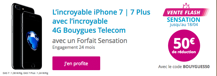 vente flash bouygues telecom 50 de remise sur l 39 iphone 7 et 7 plus. Black Bedroom Furniture Sets. Home Design Ideas