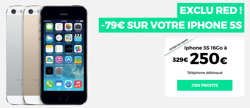 Promotion sur l'iPhone 5S chez RED by SFR
