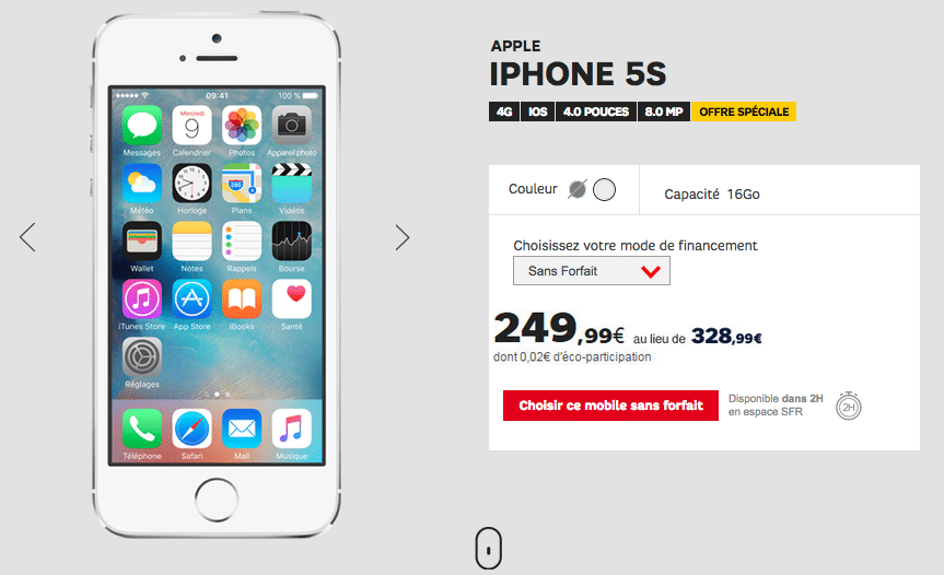 iPhone 5S en promotion chez SFR