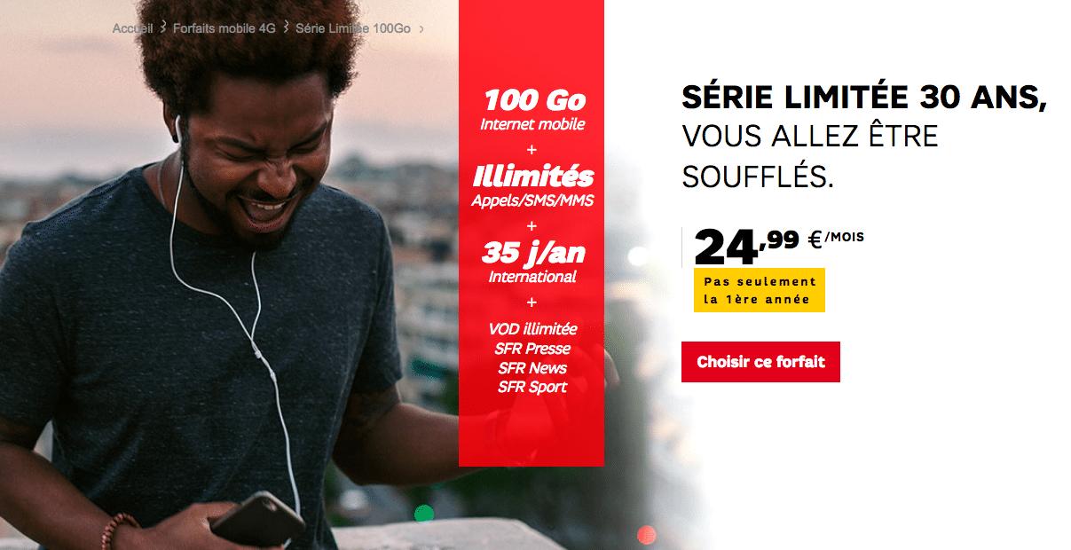 Forfait SFR 100 Go 30 ans