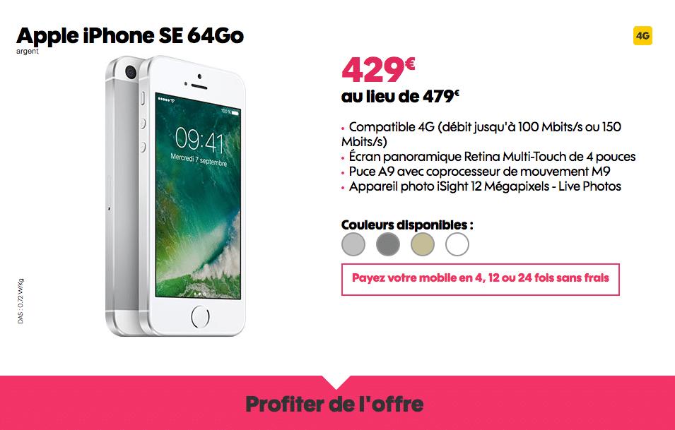 Vente flash sosh 50 euros de remise l 39 achat de l 39 iphone se 64 go - Vente flash telephone ...