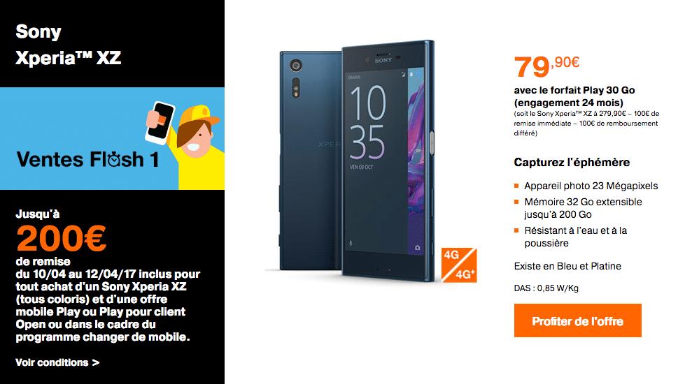 200 euros de réduction sur le Sony Xperia XZ