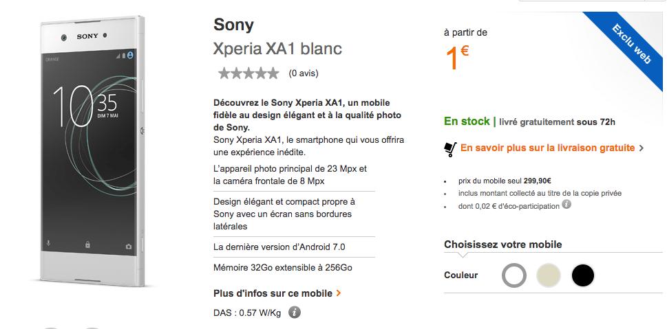 XA1 Xperia Orange forfait