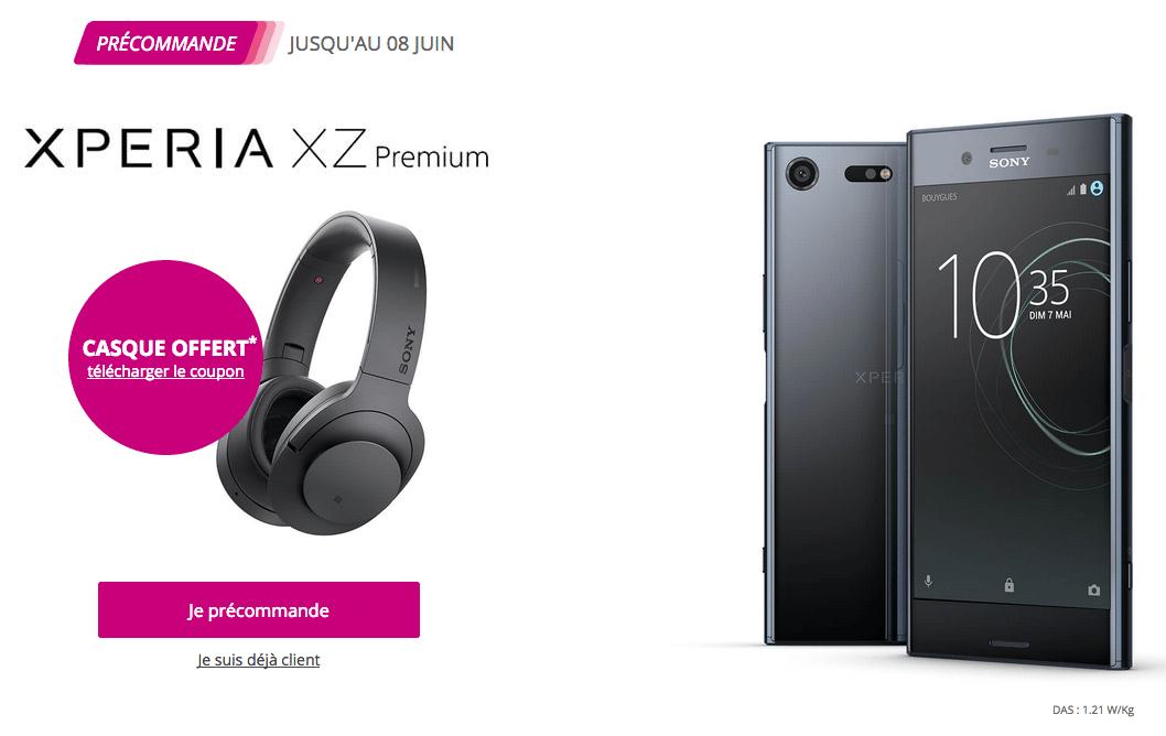 Sony Xperia XZ Premium chez Bouygues Télécom