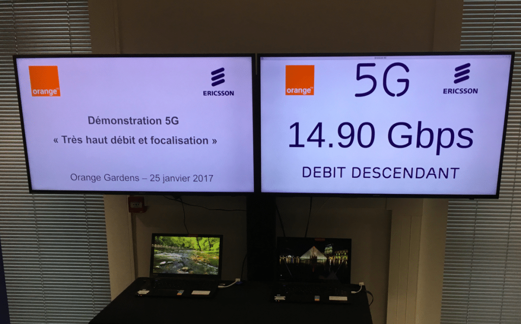 debit affiche premiers test 5G Orange
