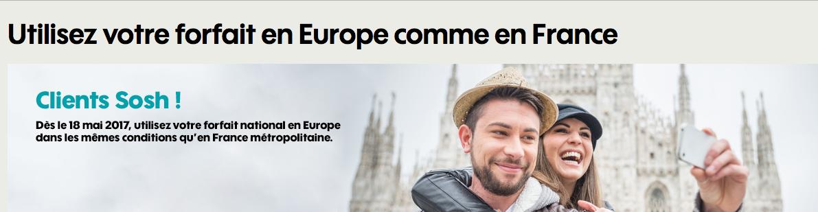 sosh illimité europe