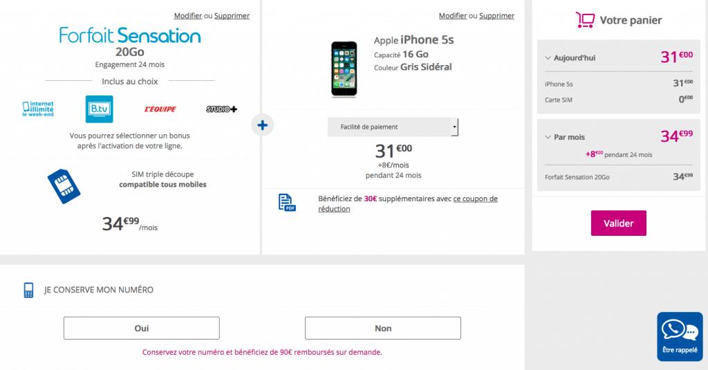 iphone 5S forfait sensation 20 Go