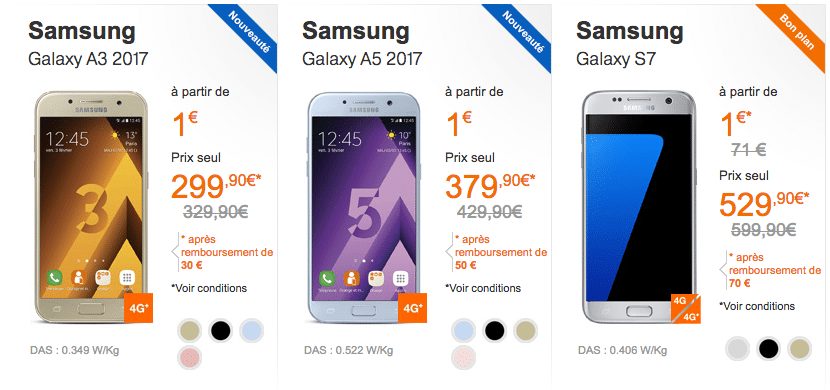 Réduction smartphones Samsung chez Orange