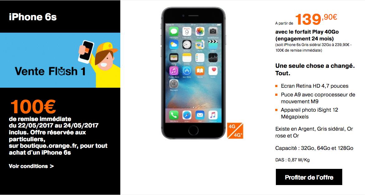 vente flash orange iphone 6s