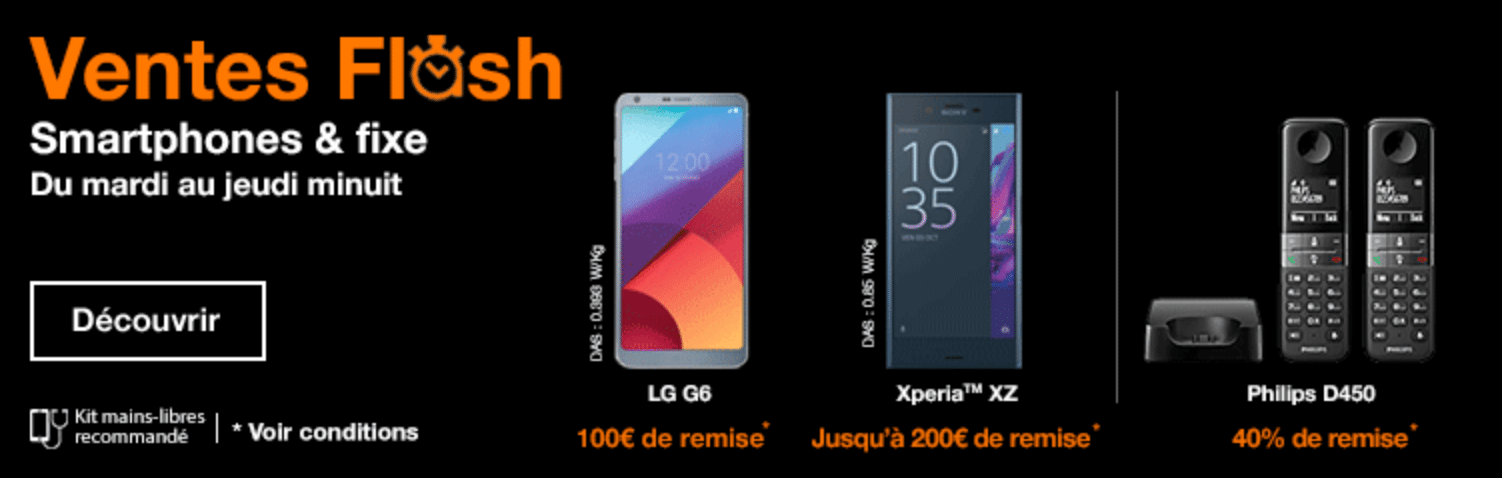 orange le lg g6 l 39 honneur avec 100 euros de r duction imm diate vente flash. Black Bedroom Furniture Sets. Home Design Ideas