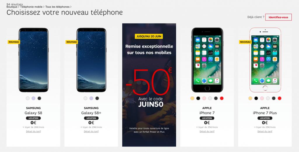 SFR smartphones remise juin50