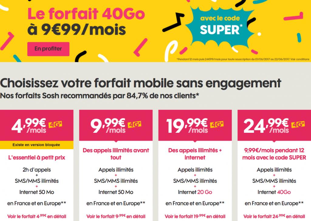sosh forfaits mobile