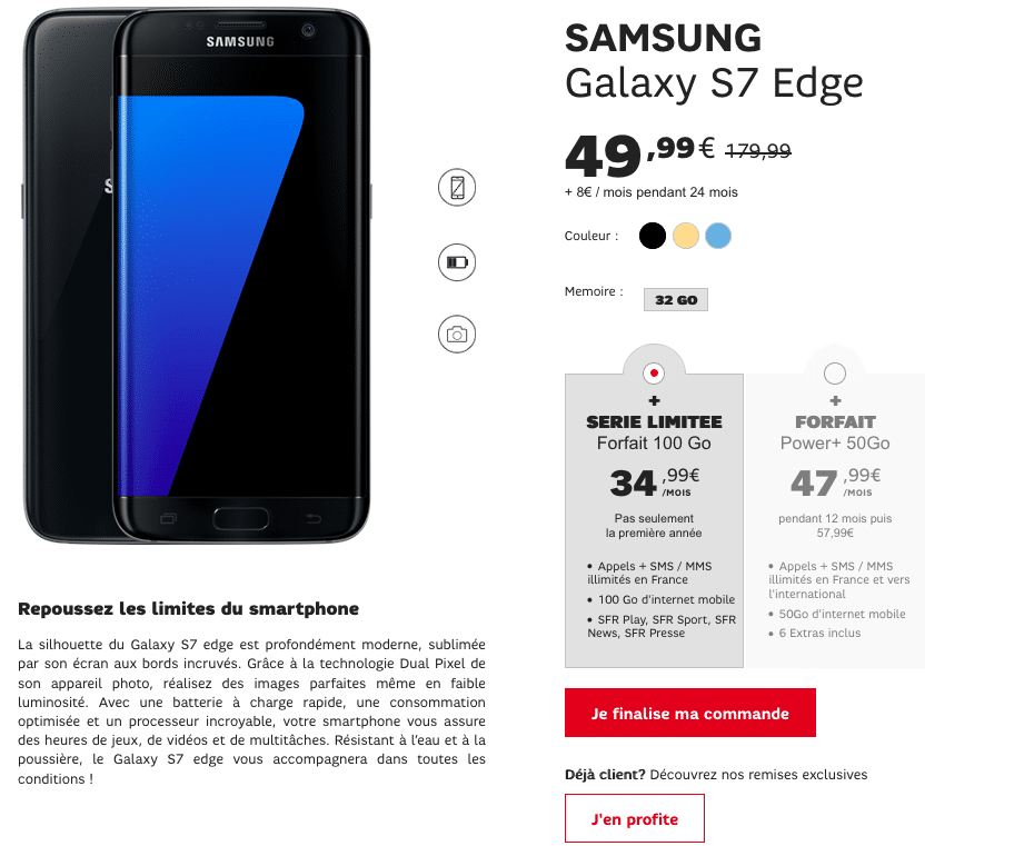 vente flash sfr galaxy s7 edge
