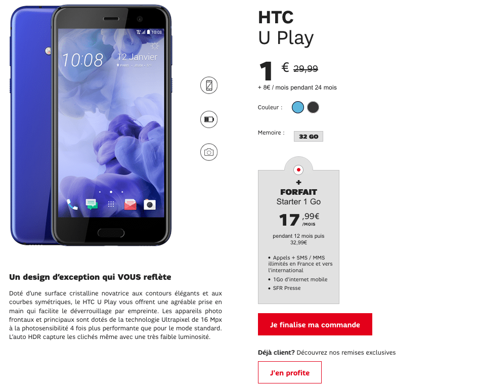 vente flash sfr htc u play