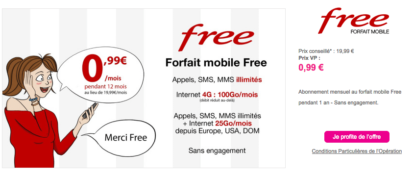 free mobile abonnement 2 euros internet