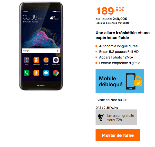 orange huawei p8 lite