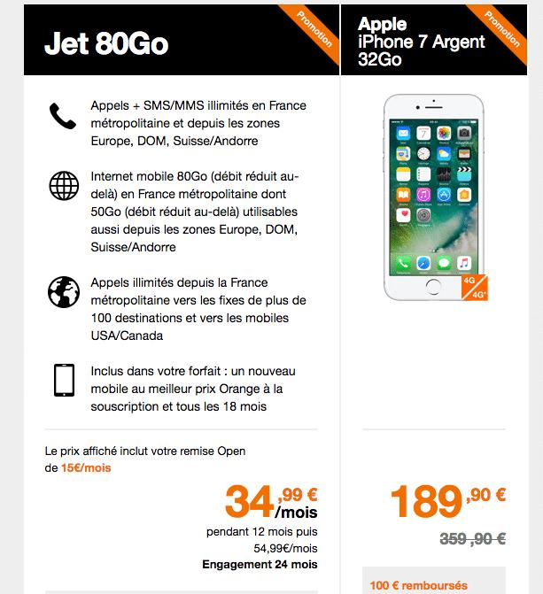 orange jusqu 39 170 de remise pour l 39 achat d 39 un iphone 7. Black Bedroom Furniture Sets. Home Design Ideas