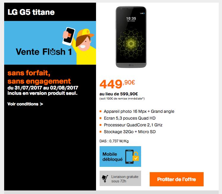 orange lg g5 vente flash