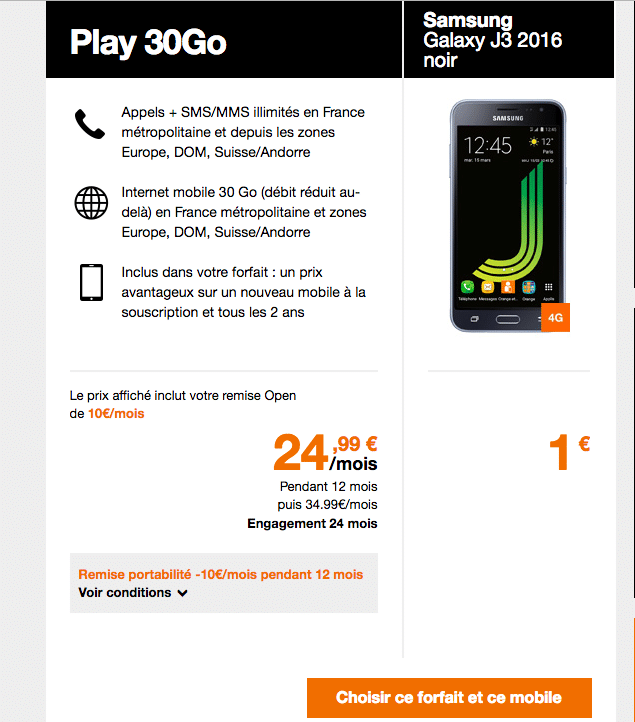 orange play 30 galaxy j3