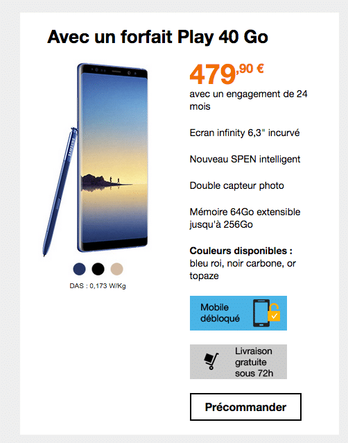 galaxy note 8 bouygues