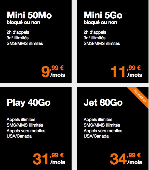 Orange 4 forfaits mobile