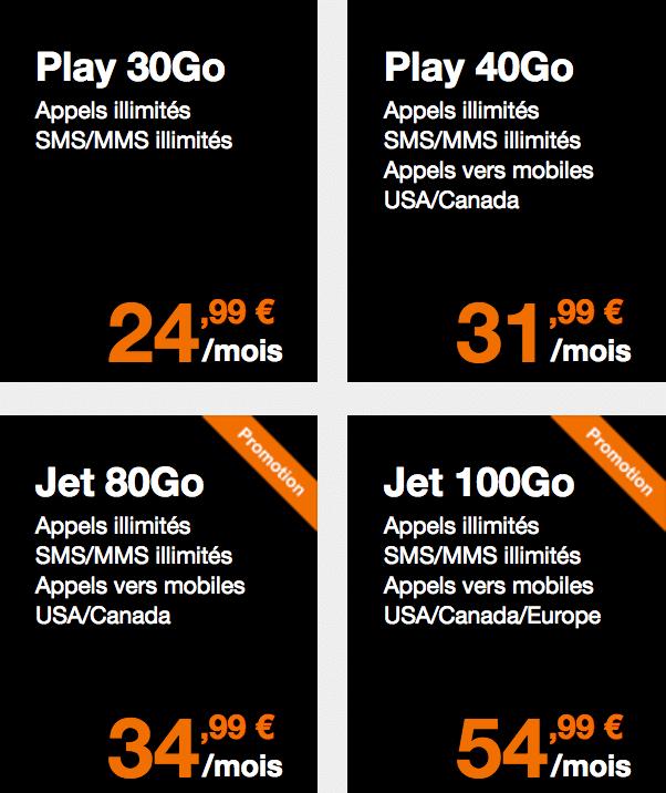 Orange forfaits play jet