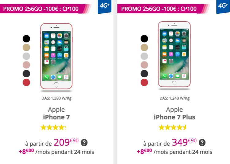 6828650c6c18ba Les iPhone 7 et 7 Plus disponibles dès 209,99€ chez Bouygues avec le code  promo CP100.