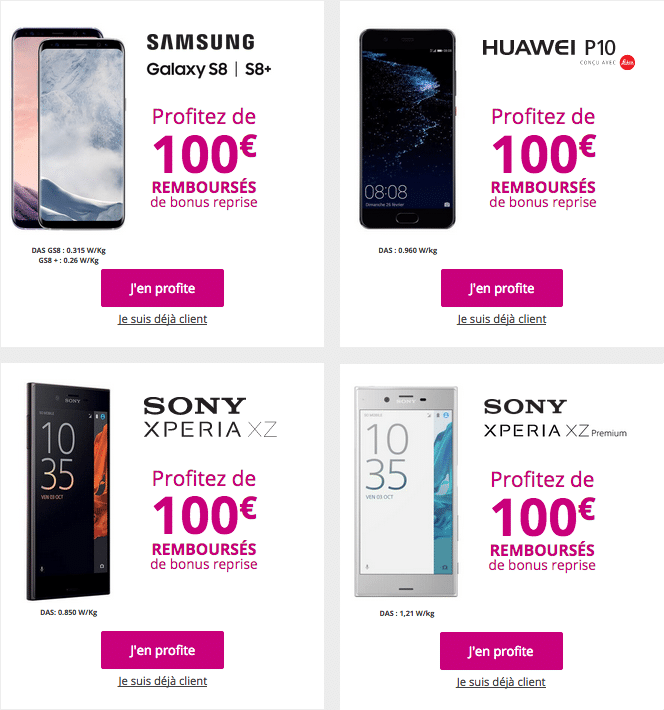 Les smartphones avec 100€ de bonus de reprise