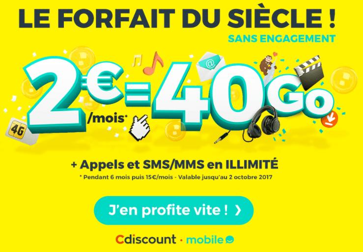 Cmobile forfait 2e 40 go