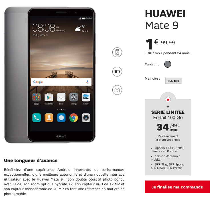 sfr lance sa vente flash avec des smartphones huawei et honor d s 1. Black Bedroom Furniture Sets. Home Design Ideas