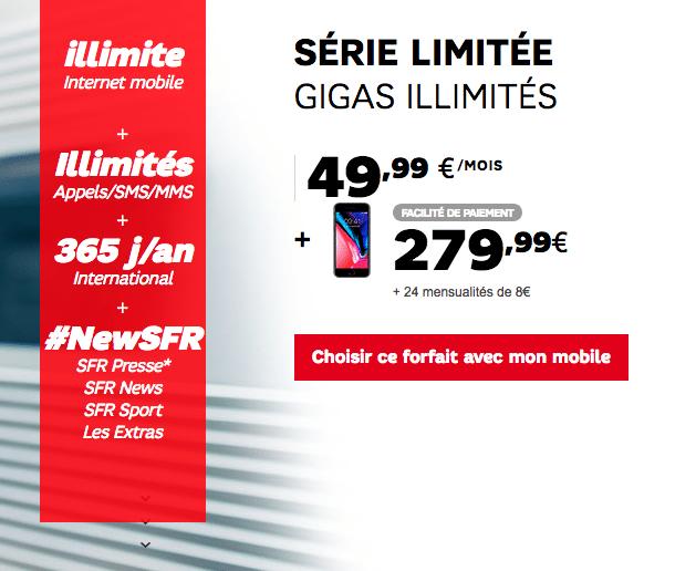 SFR iphone 8 4G illimite