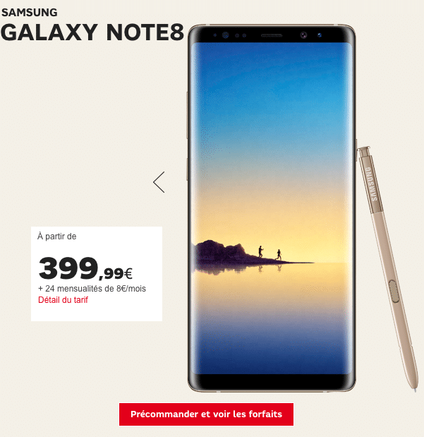 Samsung Galaxy NOte8 SFR