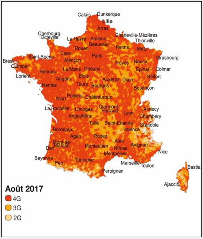 La couverture d'Orange en France au mois d'Août 2017