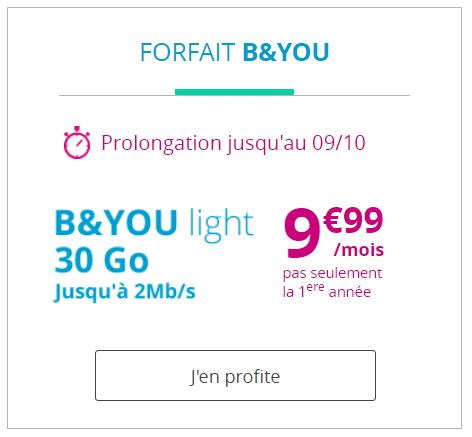Le forfait B&You Light 30 Go est à 9,99 euros par mois