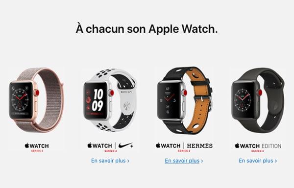 L'Apple Watch Series 3 est proposées avec divers boitiers et écrans