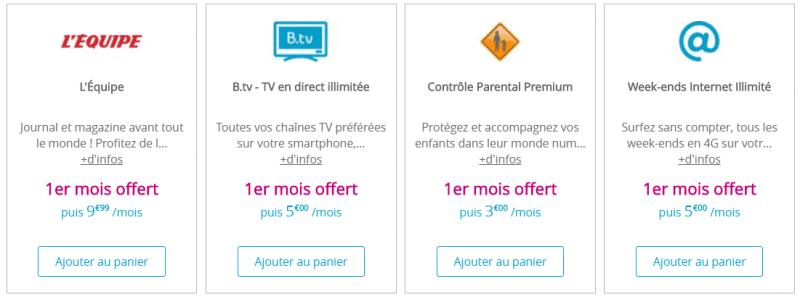 Les options supplémentaires proposées par Bouygues pour un forfait B&You Light 30 Go