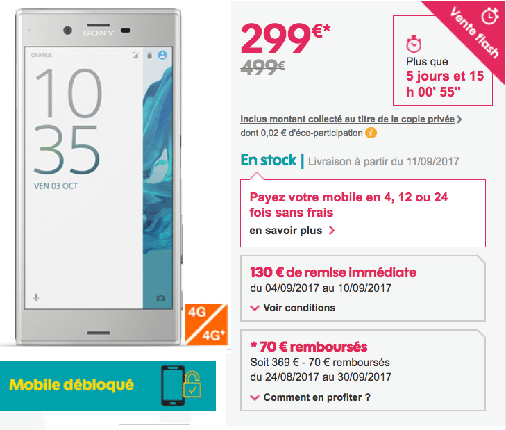 sosh xperia xz vente flash