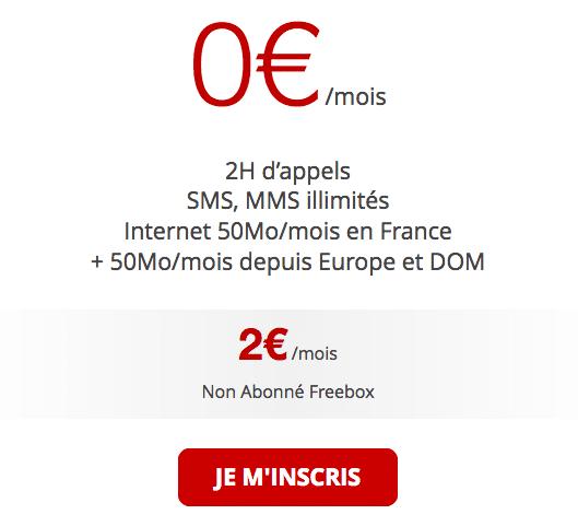Forfait à 0€ de Free Mobile