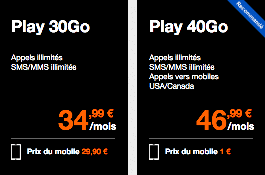 Orange Play 30 et 40 Go