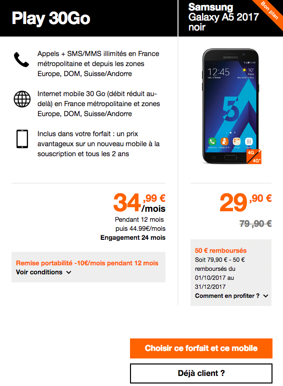 Orange forfait galaxy A5