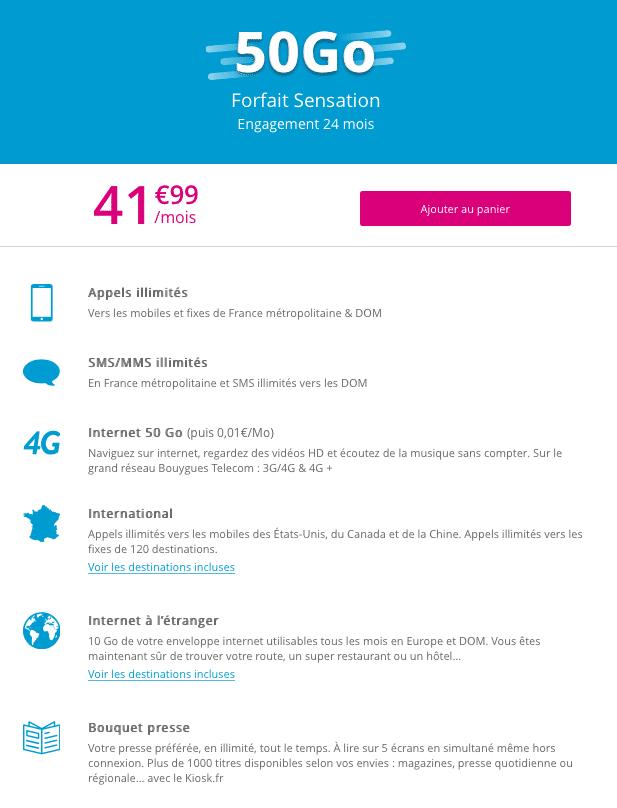 Le forfait sensation 50Go est disponible à partir de 41,99€.