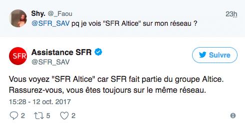 Les abonnés découvrent la mention SFR Altice