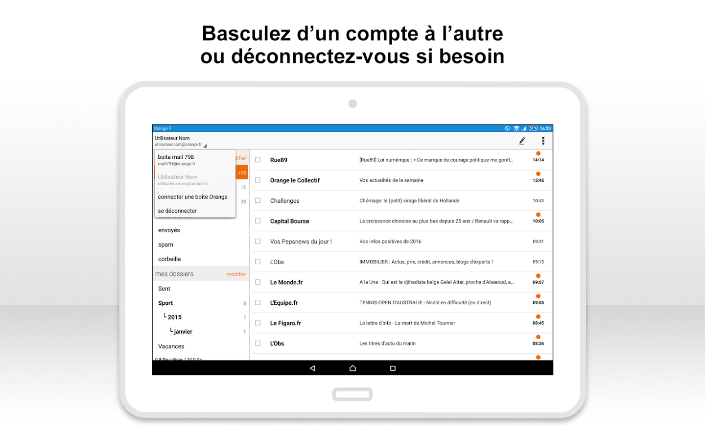 Application e-mail Orange sur tablette