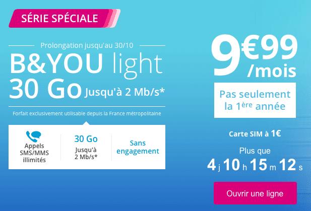 L'offre B&You Light de Bouygues Télécom est prolongée jusqu'au 30 octobre.