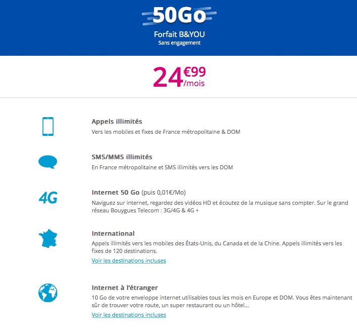 Doublez votre quantité de data avec le forfait B&You 50 Go pour votre iPhone X.