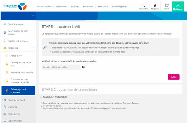 Pour débloquer votre Sony Xperia, rendez-vous directement dans votre compte client Bouygues Télécom.